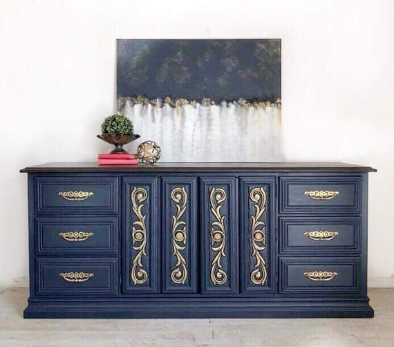 Ordinaire Sold Sold Navy Blue Painted Dresser/ Upcycled Furniture /   Etsy
