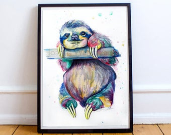 "Multicoloured Sloth Print from the Original Watercolour Painting: ""Hang in there"" . Sloth Painting. Colourful Sloth Print. Sloth Wall Art."