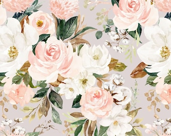 8157f4ae6b1 Vintage Magnolia Floral Fabric by the Yard. Quilting Cotton, Organic Knit,  Jersey, Minky. Flower Flowers Watercolor Boho Blush Nursery Baby