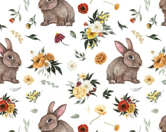 YardMeter Cotton knit fabric Rabbit on White Cotton jersey fabric animal print stretch fabric Cotton Jersey
