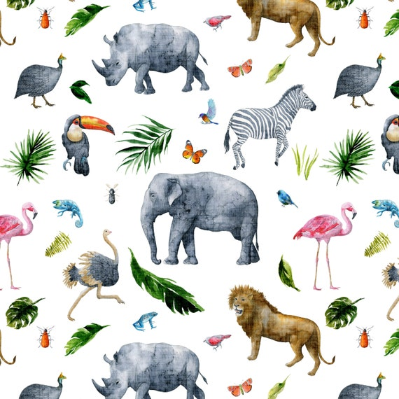 Jungle Animal Nursery Fabric Giraffe Lion Elephant Pastel Safari Baby Animals Quilting Fabric By the Yard HY t510