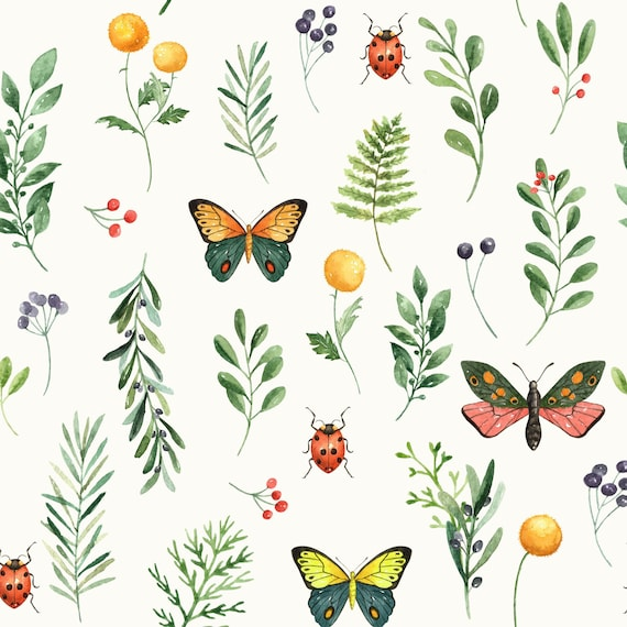 Butterflies BUTTERFLY GARDEN Hearts and Flowers 0.5m 100/% Cotton Fabric