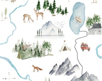 Woodland Mountain Quilting Fabric by the Yard. Cotton Knit Jersey Minky. Adventure Awaits Gender Neutral Camping Forest Nursery Baby Kids