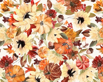 Fall Sunflowers and Pumpkins Fabric by the Yard. Quilting Cotton, Organic Knit, Jersey or Minky. Halloween, Fall Floral Fabric, Autumn