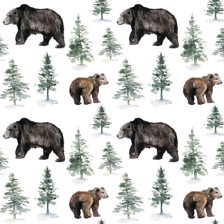 Woodland Bear Fabric By The Yard Children S Fabric Etsy
