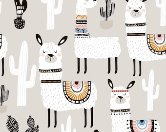 Llama and Cactus Fabric by the Yard. Quilting Cotton, Knit, Jersey or Minky. Llamas, Summer Fabric, Desert, Children's Fabric, Cacti