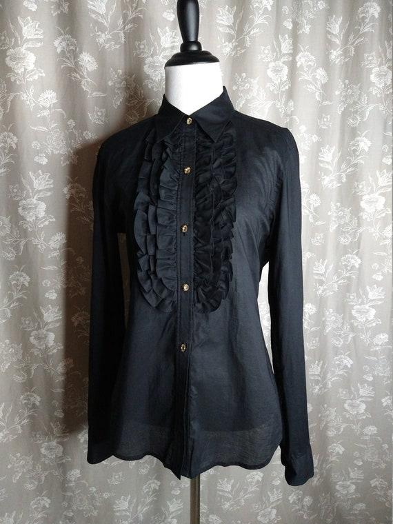1970's Ladies Black cotton Ruffle Ralph Lauren Tux