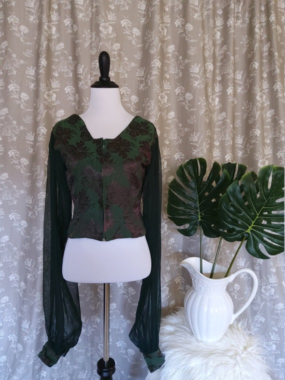 1970's Ladies Forest Green Bohemian Dramatic Long