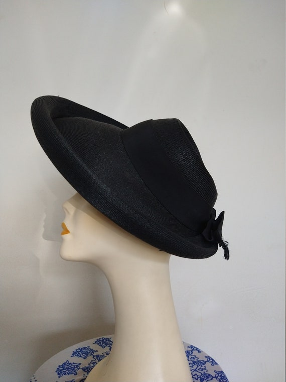 1940's Ladies Black Straw Picture Hat with Ribbon