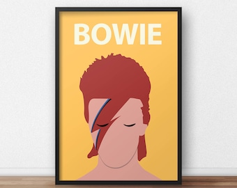 David Bowie / Ziggy Stardust Poster Print // Minimalist Print - Inspirational Art - Classroom Poster - Music
