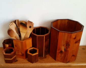 Reclaimed wood box planter vase