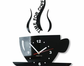 Coffee Clock Kitchen Wall Clock Mute Clock Black Yellow Red Green Blue  Brown Pink Purple Gray White Clock Time For Coffee Quote Clock