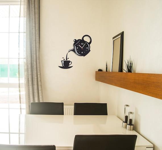 Decorazione della parete cucina orologio caffè pot e tazza parete  arredamento nero teiera orologio parete orologio orologio verde orologio  grigio ...