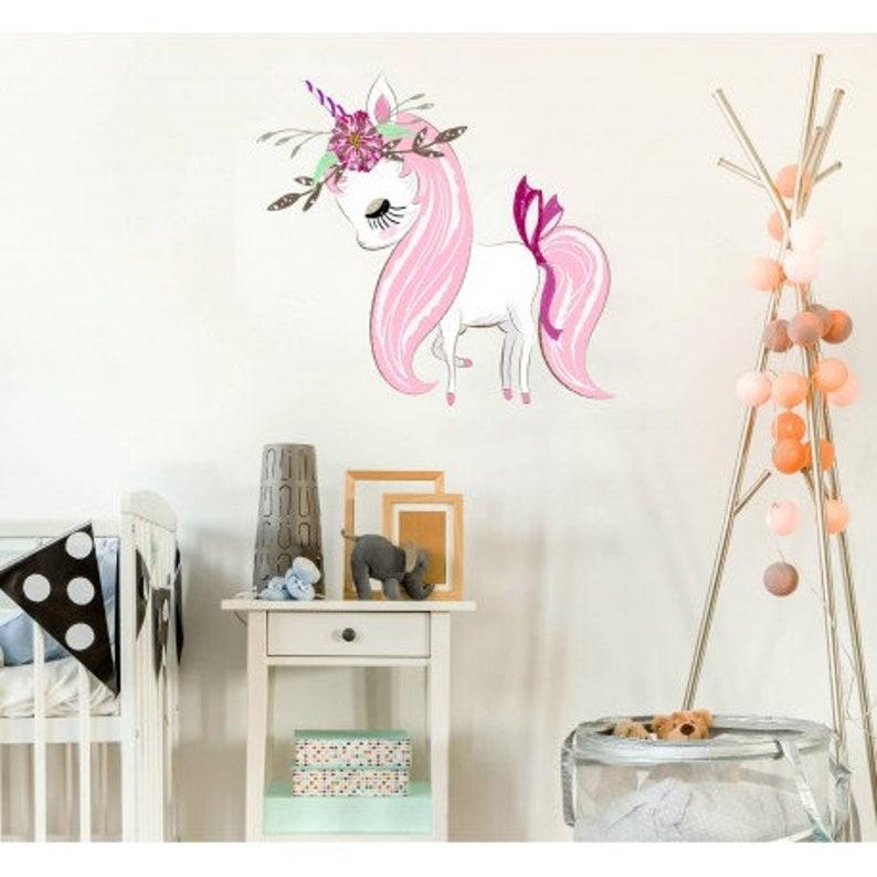 unicorn wall decor sticker pony decal girl room decor pink | etsy