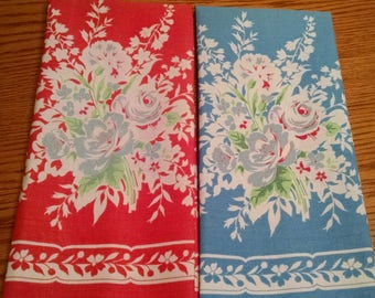 Two Sweet Vintage Floral Kitchen Tea Towels Dish Towel Blue Red White Roses Flowers Shabby Cottage Chic Retro Red & Blue Pair of Tea Towels