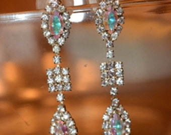 Rhinestone Long Dangle Earrings .25 inches x 2 inches, Clear and Aurora Borealis Stones
