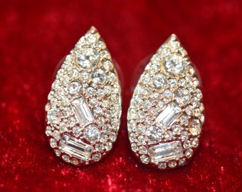 Sterling Silver, Swarovski Crystal Post Earrings , Dazzling! .5 inches W x 1 inch H