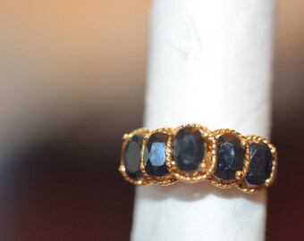 Enhanced Sapphire 5 Gemstones Ring, Set in Gold over Silver Size 7