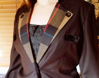 1980s check collared riding jacket