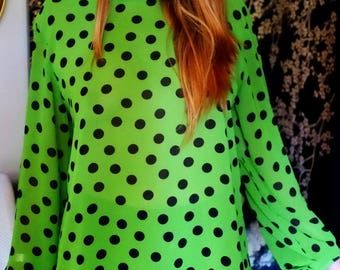 1980s planet green and bkack spot  buttonback blouse