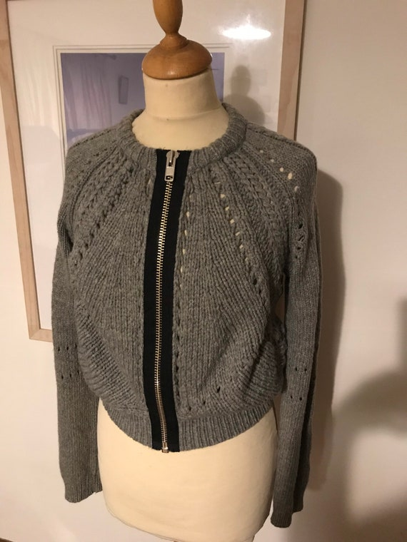 Chunky cable cropped grey knit super soft cardigan