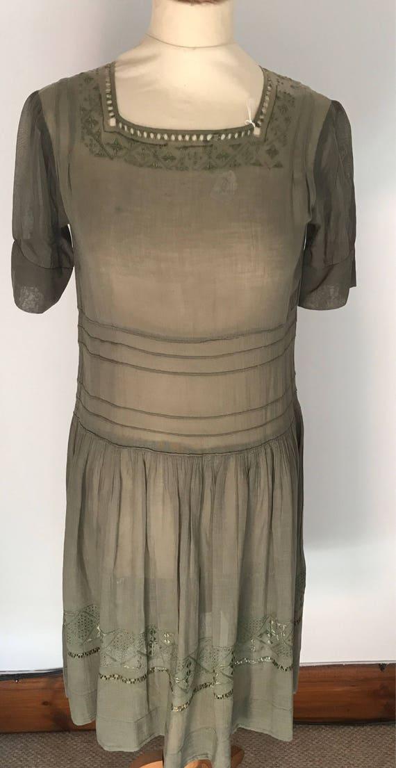 Vintage 1930s khaki embroidered voile drop waist d