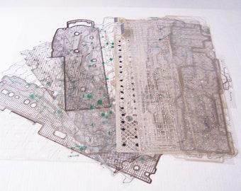 Computer Keyboard Mylar with Silver Traces 20 Sheets, Keyboard Plastic Sheet, Circuit Board Pattern, Geeky Pattern, Geeky Art Pattern