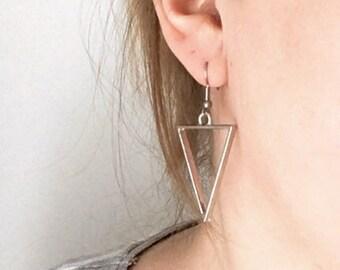 Large triangle earrings, geometric statement earrings, triangle drop earrings, geometric Earrings, gothic jewellery, 'Ava' earrings.
