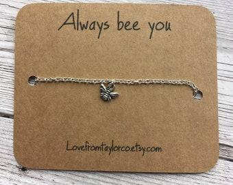 Bee bracelet, bee jewellery, bee gift, motivational gift, inspirational gift, always bee you, bee, nature, dainty, simple jewellery, gift