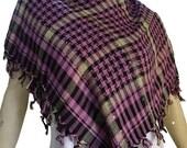 CLEARANCE Vintage Purple Plaid with Sequins Square Stole Scarf Pure Cotton