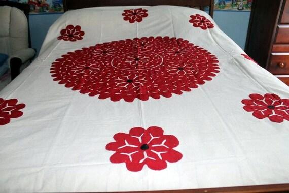 Sale vintage boho bedspread off white hand applique pure etsy