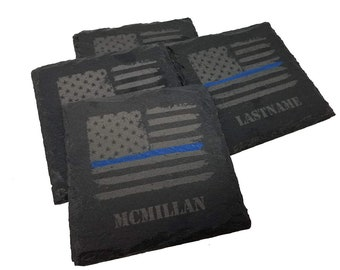 bb458f6286b7 Personalized Police Thin Blue Line Distressed American Flag Slate Coaster  Set