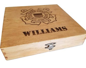 Personalized US Coast Guard Keepsake Box - Boot camp graduation gift for Coast Guard