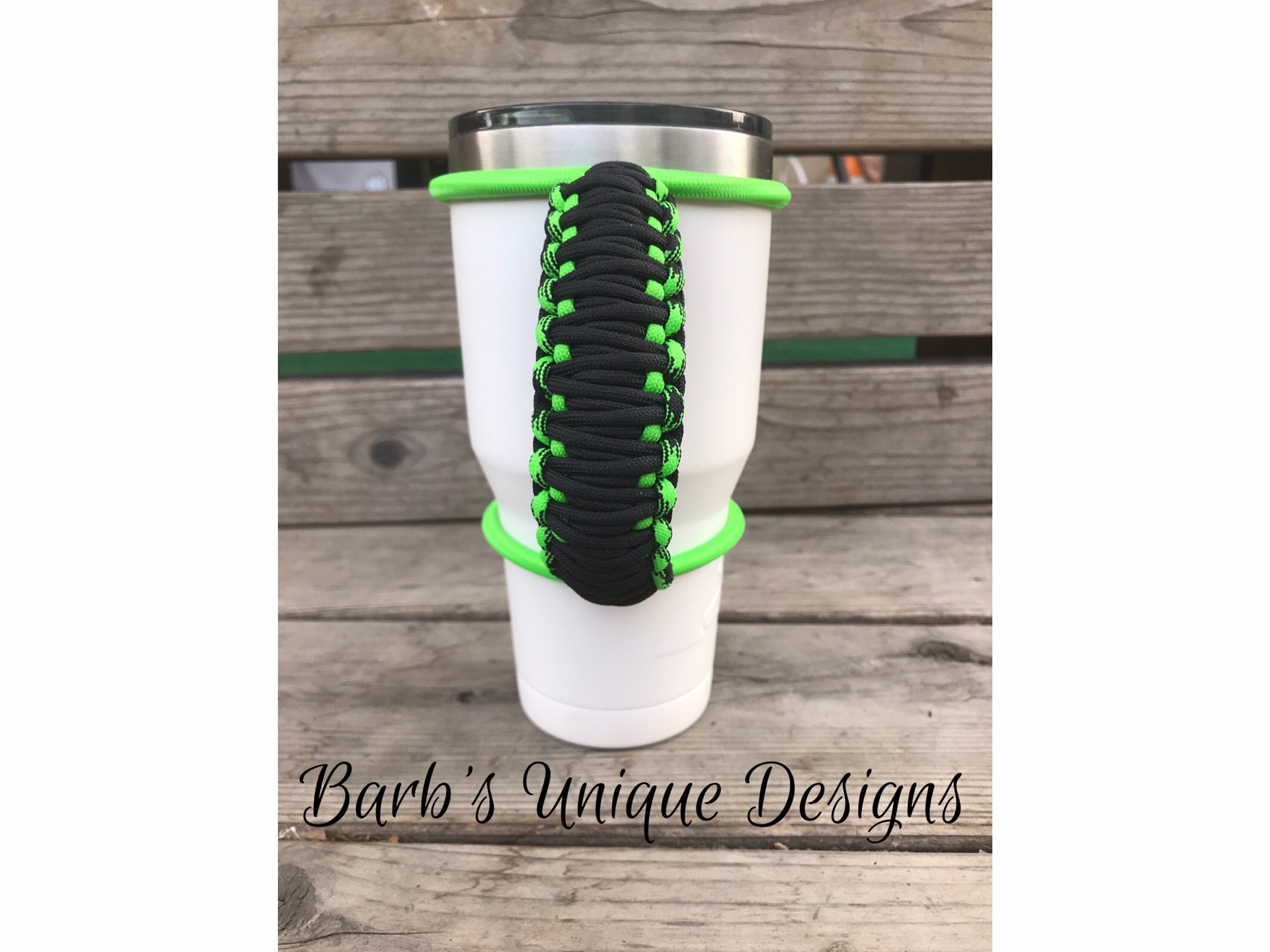 handle for custom and insulated tumblers Neon pink black purple handmade colored bungee paracord made to fit most 30 32 40 oz
