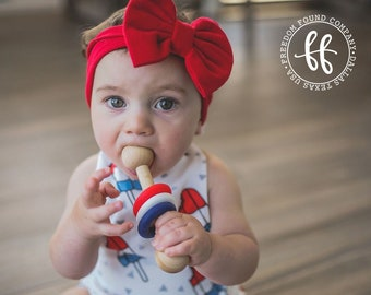 Wooden Patriotic Rattle | Silicone Teether | All Natural Bees Wax | JoJoBa Oil | Red White Blue | Military | Baby Shower Gift | Montessori