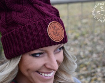 Waymaker Cable Knit Pom Pom Beanie | Miracle Worker | Promise Keeper | Slouchy Hat | Christian | Christmas Gift for Her | Stocking Stuffer