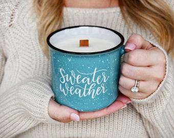 Campfire Candle | Sweater Weather | Campfire Mug | Wood Wick Candle | Fall Mug | Fall Candle | Christmas Gift | Fall Soy Candle | Autumn