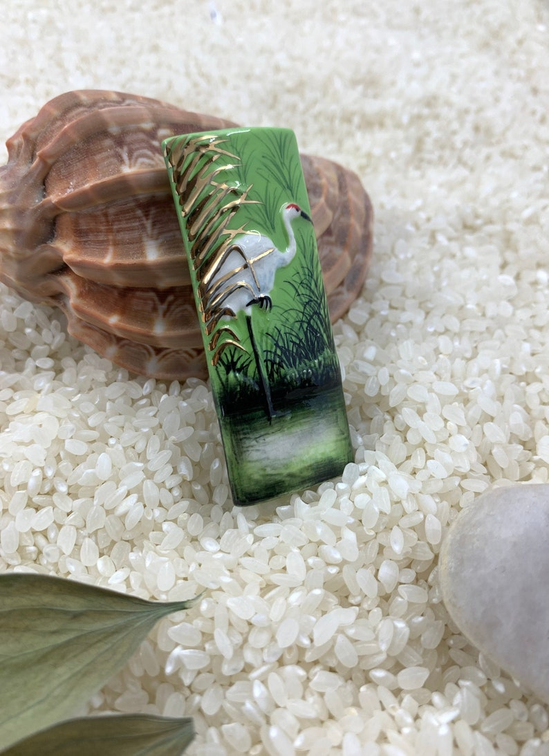 Green color spring large hole crane bead Porcelain bead Hand painted Boho beads swamp jewelry Global Curiosity ceramic focal beads
