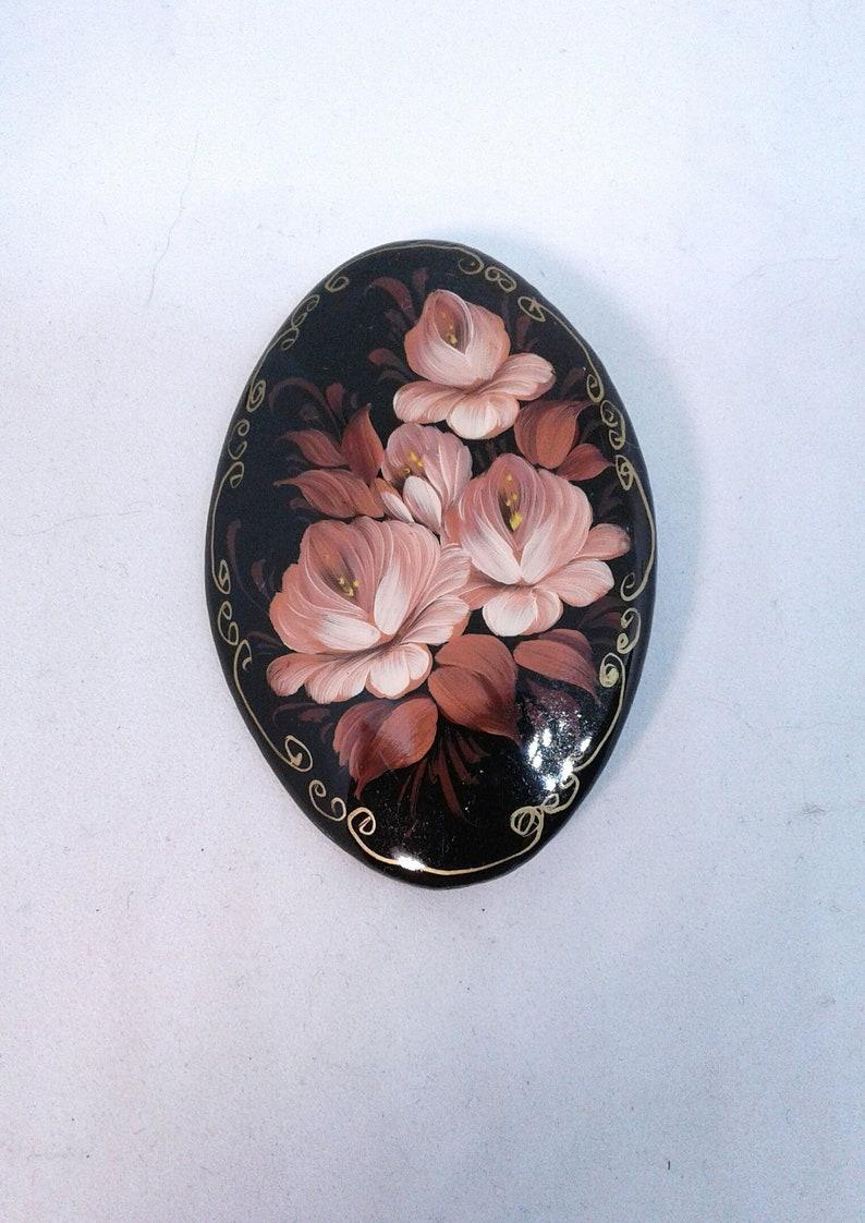 Russian Lacquer Pin Brooch Hand Painted Papier Mache Artist Signed Folk Art New
