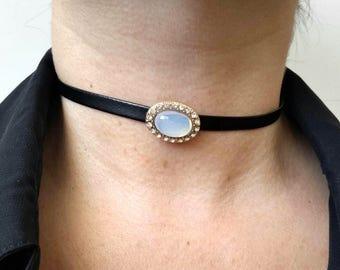 Black Choker Necklace, Black Choker, Cameo Choker, Stone Choker, Black Necklace, Leather Choker, Leather Necklace, Gothic Necklace, Chokers