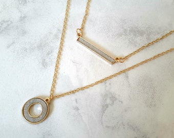 Gold Ring Necklace, Double Layered Gold Necklace, Gold Circle Necklace, Gold Chain Necklace, Dainty Gold Necklace, Gold Choker Necklace