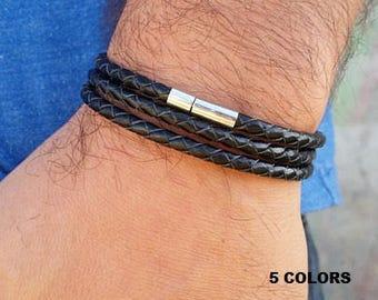 Men Leather Bracelet, Mens Bracelet, Leather Bracelet, Wrap Leather Bracelet, Black Leather Bracelet, Men Black Bracelet, 7 COLORS AVAILABLE