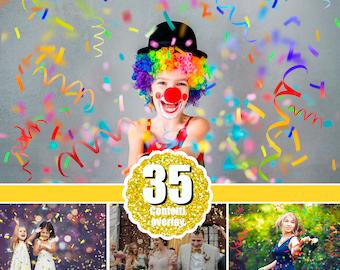 35 Confetti photo Photoshop overlays, realistic falling confetti, wedding birthday party celebration, blowing glitter, PNG