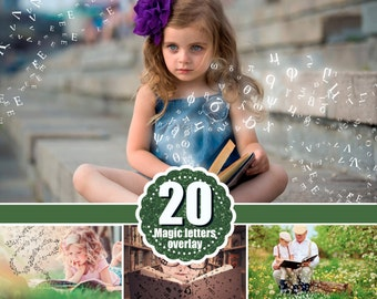 20 Falling Letters Photo Overlays, Scrambled Letters Photoshop Overlay, Photo transparent background, Magical Fairy Children png file