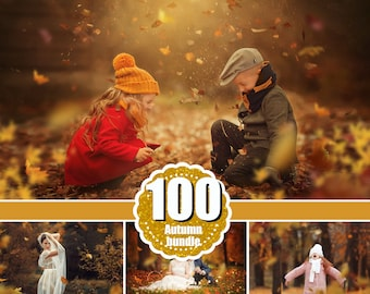 100 Autumn Leaves Overlays, Photoshop Overlay, falling effect, Fall leaves, realistic, natural look, Autumn textures, png jpg file