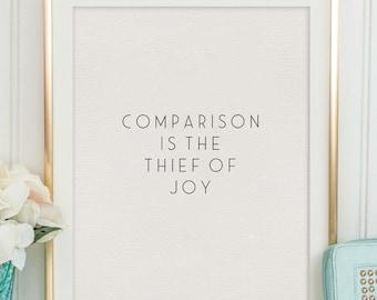 Comparison Is The Thief Of Joy, Theodore Roosevelt,Bible Verse,Scripture Art,Modern Art,Bible Cover,Christian Quote,Scandinavian Decor