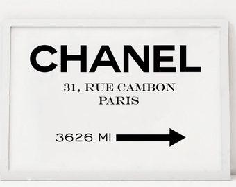 31 RUE CAMBON, Original Paris,Modern Fashion,Modern Art,Girls Room Decor,Printable Art,Typography Poster,Fashion Illustration,Fashionista