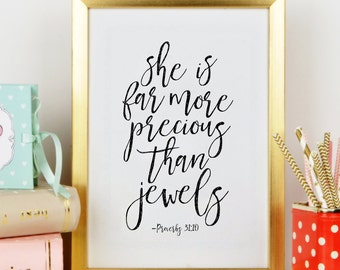 NURSERY GIRLS,She Is Far More Precious Than Jewels, PROVERBS 31:10 , Scripture Art,Bible Verse,Christian Print,Gift For Her,Typography Print