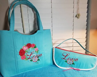 This matching beach bag and flip flop tote is an example of what can be created. Create your own set by contacting me through this listing.