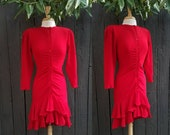 80s Dresses | Casual to Party Dresses Ruffle dress fiesta dress party dress vintage party dress vintage ruffle dress Vintage red dress $97.00 AT vintagedancer.com